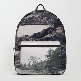 A Rainy Day on the Coast of Pacific Ocean in Tofino, British Columbia Backpack
