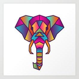 Elephant   Geometric Colorful Low Poly Animal Set Art Print