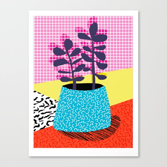 Shibby - neon 80's throwback potted plant indoor garden pink yellow red grid memphis los angeles pal Canvas Print