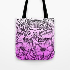 Charmed Life - Deer Girl Poppies - Purple Ombre Tote Bag