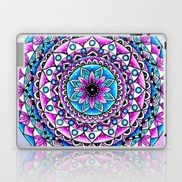 Mandala #2 Wall Tapestry Throw Pillow Duvet Cover Bright Vivid Blue Turquoise Pink Contempora Modern Laptop & iPad Skin