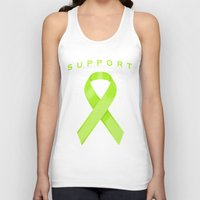 lime green Tank Tops featuring Lime Green Awareness Ribbon by Campen Arts