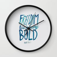 freedom Wall Clocks featuring Freedom  by Leah Flores