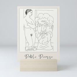 Vintage poster-Pablo Picasso-Linear drawings-Nude Female Model Sculptured Head . Mini Art Print