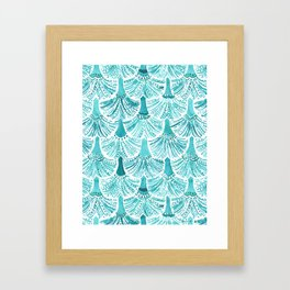 MERMAID TAILS Nautical Scallop Pattern Framed Art Print