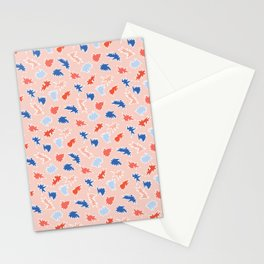 Memphis Style Abstract Scribbles Seamless Pattern Stationery Cards