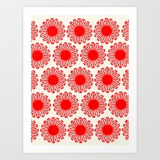vintage flowers red Art Print
