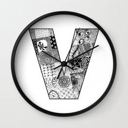 Cutout Letter V Wall Clock