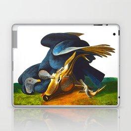 Black Vulture or Carrion Crow Eating a Dead Deer Laptop & iPad Skin