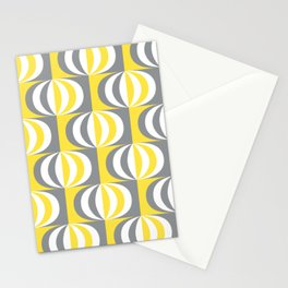 Retro Mid-century striped ovals Illuminating Yellow, Ultimate Gray, White Stationery Cards