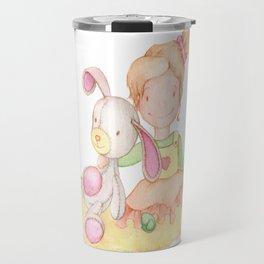 Baby girl and her bunny Travel Mug