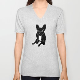 Cute brindle French Bulldog in black and white digital art Unisex V-Neck