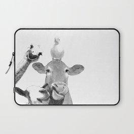 Black and White Farm Animal Friends Laptop Sleeve