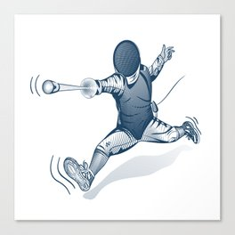 Fencer. Print for t-shirt. Vector engraving illustration. Canvas Print