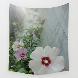 Morning Mist Hibiscus Flowers Wall Tapestry