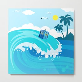 tardis in water waves Metal Print