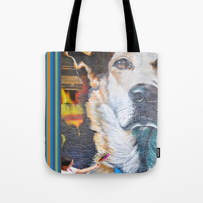 Few flowers as a tribute to the Loukanikos dog from Elisavet Tote Bag