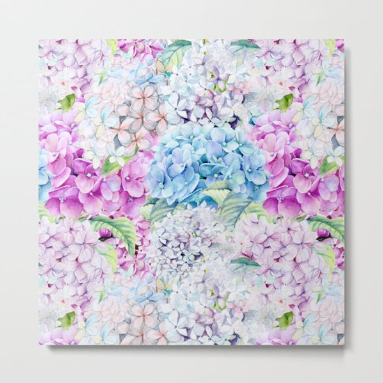 Multicolor Watercolor Hydrangea dream pattern Metal Print
