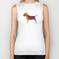 bull terrier Biker Tanks featuring Bull Terrier in watercolor by Paulrommer