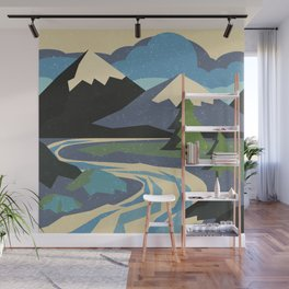 Snow on the mountain Wall Mural