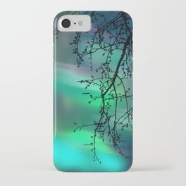 Tree Branch and Aurora Borealis Night Sky iPhone Case
