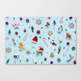 Collection of Christmas objects viewed from above Canvas Print
