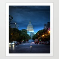 washington dc Art Prints featuring Washington, DC by ClintonBPhotography