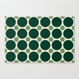 Big Dark Green and Small Light Green Circles Canvas Print