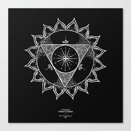 Throat Chakra - White on black Canvas Print