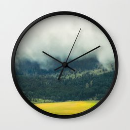 Foggy Morning Meadow Wall Clock