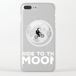Bicycle MTB Bike Astronaut Ride to the Moon  Clear iPhone Case