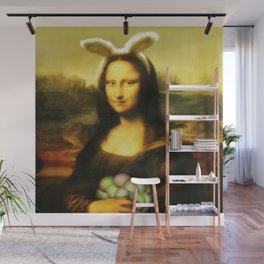 Easter Mona Lisa with Bunny Ears and Colored Eggs Wall Mural