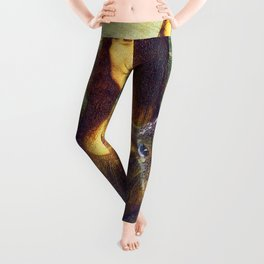 Mona Lisa Squirrel Photo Bomb Pop Art Leggings