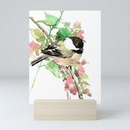 Chickadee and spring blossom Mini Art Print