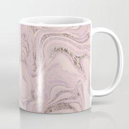Pastel Pink Gold Faux Glitter Marble Coffee Mug
