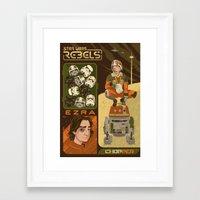 ezra koenig Framed Art Prints featuring Rebel 4: Ezra Bridger by Szoki