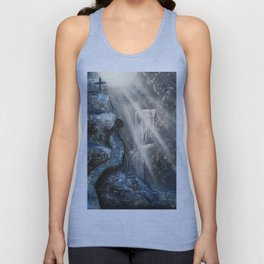 Spray Paint Waterfall Road to the Cross Unisex Tank Top