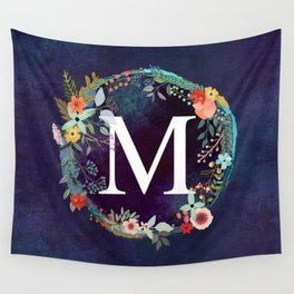Personalized Monogram Initial Letter M Floral Wreath Artwork Wall Tapestry