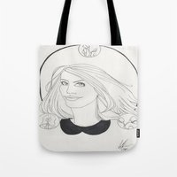 lydia martin Tote Bags featuring Lydia by Wolfhearted