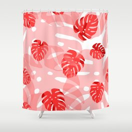 red monstera Shower Curtain