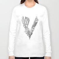 vikings Long Sleeve T-shirts featuring Black Vikings by Fiorella Modolo