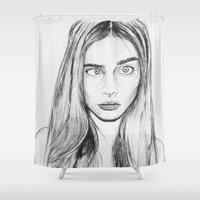 cara Shower Curtains featuring Cara by Chris Watts Art