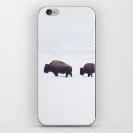 Buffalo Walking Through Snow in Winter iPhone Skin