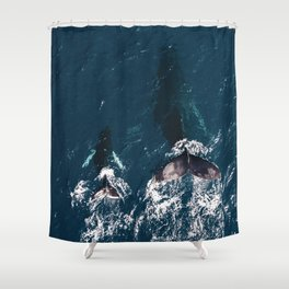 Ocean Family Whales Shower Curtain