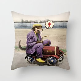 Barkin' Down the Highway! Throw Pillow