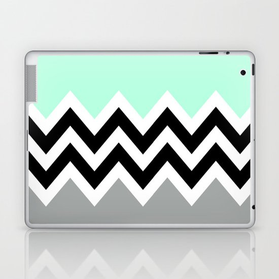 DOUBLE COLORBLOCK CHEVRON {MINT/BLACK/GRAY} Laptop & iPad Skin