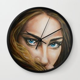 Intense Gaze Oil Painting detail Wall Clock