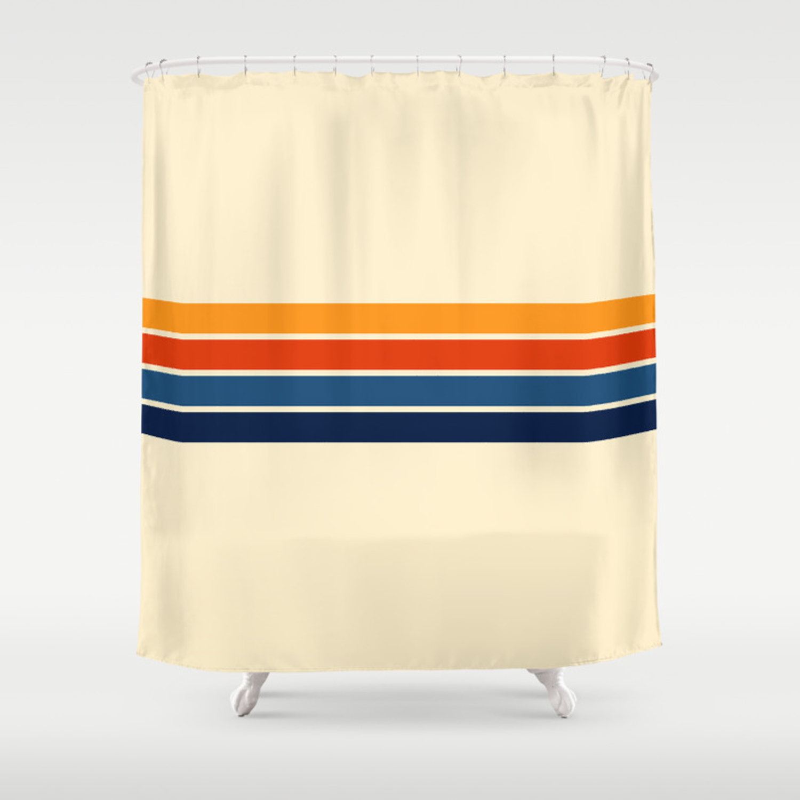 Classic Retro Stripes Shower Curtain