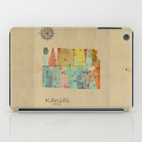 kansas iPad Cases featuring Kansas state map by bri.buckley