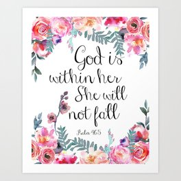 God is within her she will not fall Art Print